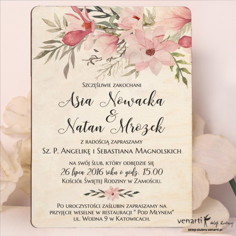 Magnolie drewniane zaproszenia ślubne DZ084
