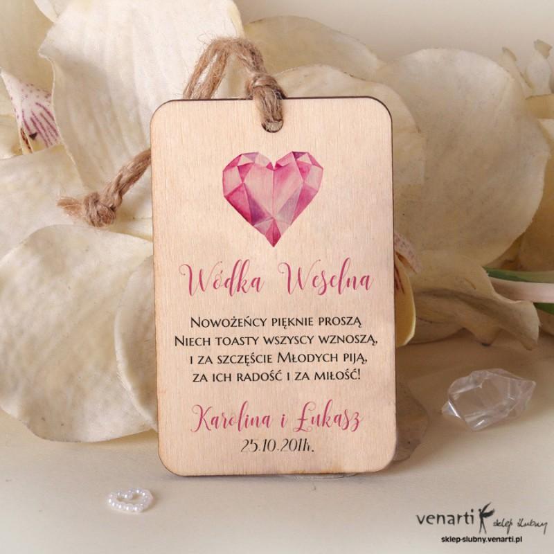 Diamentowe serce Ślubne drewniane zawieszki ZD044