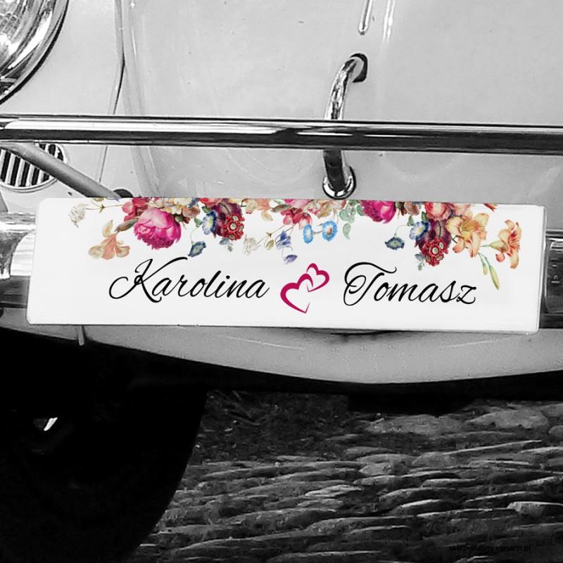 Malowane kwiaty tablice rejestracyjne ślubne TAB007
