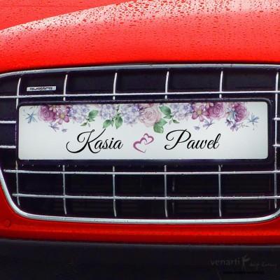 Kwiaty rustikal tablice rejestracyjne ślubne TAB009