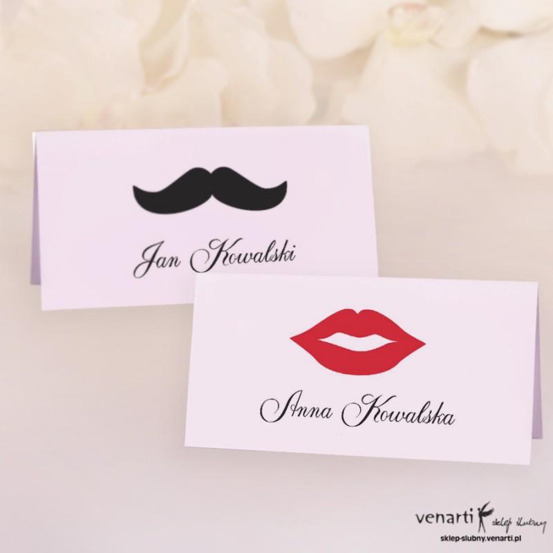 Usta wąsy Winietki ślubne W072