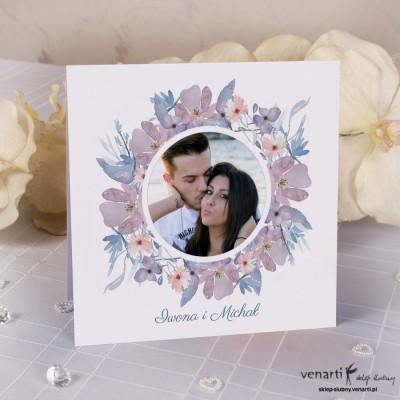 Zaproszenia ślubne kwiatowe ze zdjęciem K043