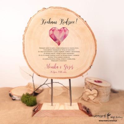 Ślubna statuetka drewno z korą SD015 - podziękowanie dla Rodziców