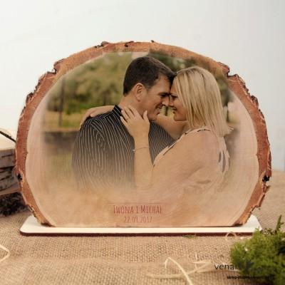 Ślubna ramka na zdjęcia Plaster brzozy R014