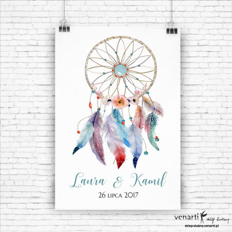 Plakat powitalny ślubny Boho