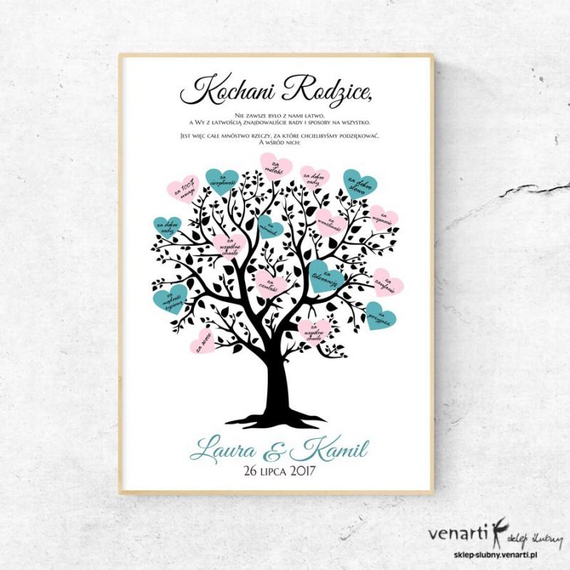 Plakat Podziękowanie Drzewo z sercami