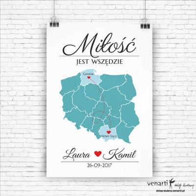 Plakat powitalny ślubny Mapa Polski