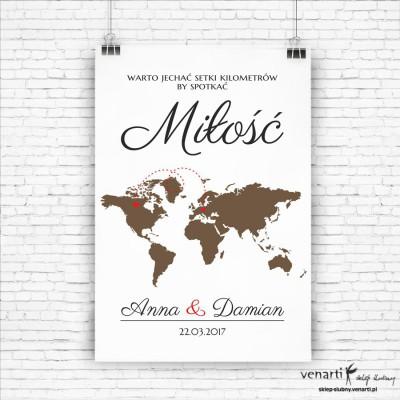 Plakat powitalny ślubny Mapa Świata