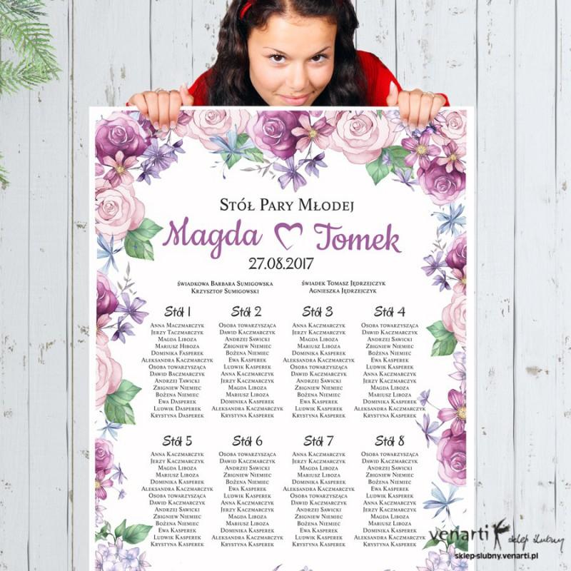 Plan stołu plakat Kwiaty rustikal