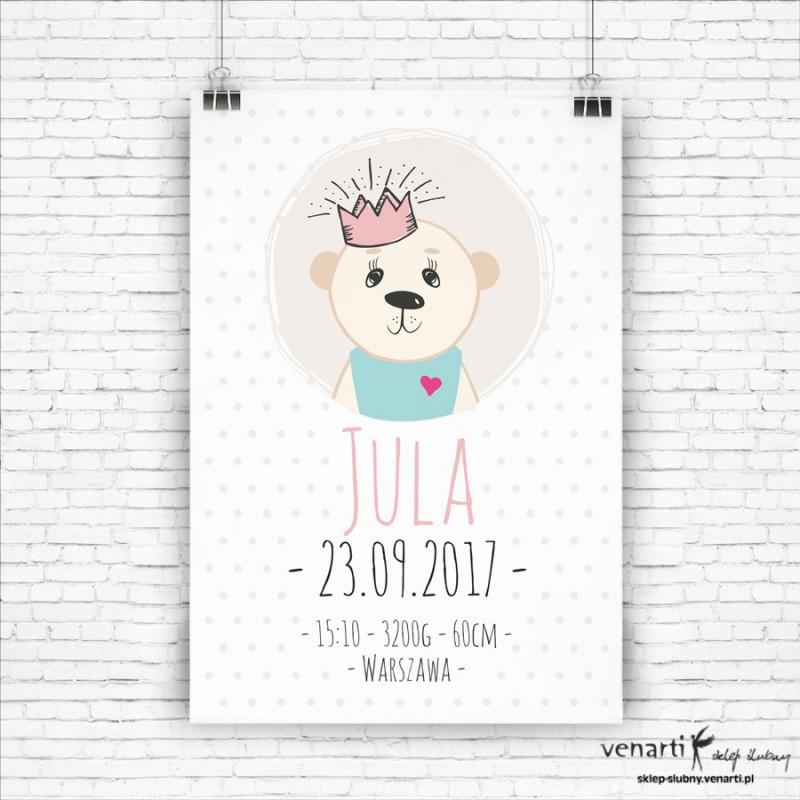 Miś księżniczka plakat/metryczka dla dzieci