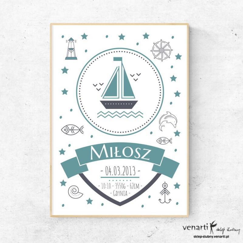 Morski plakat dla dzieci Metryczka