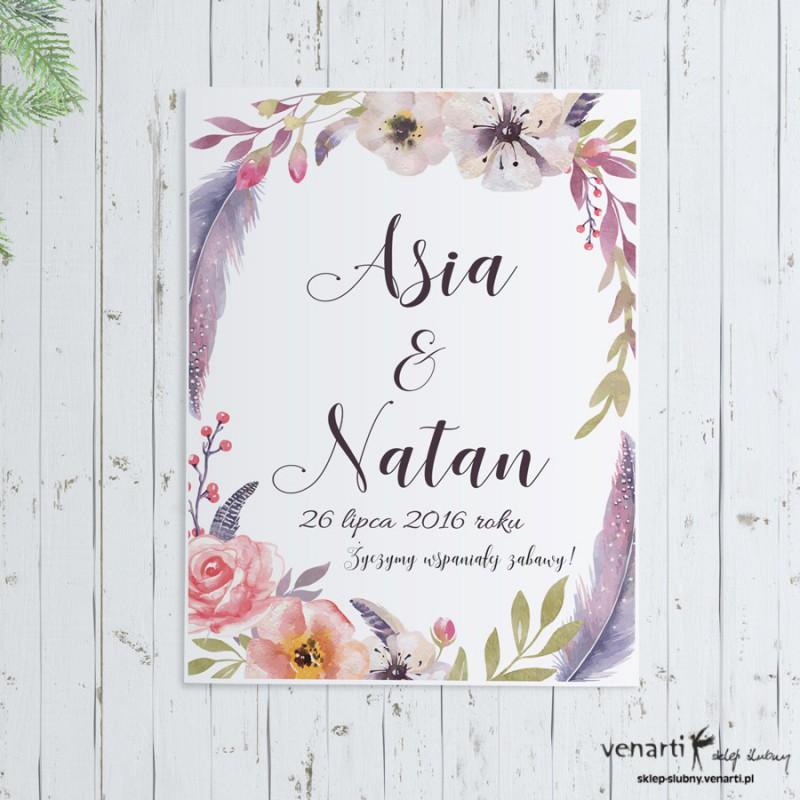Plakat ślubny Kwiaty boho
