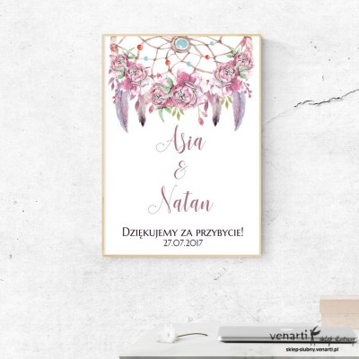 Plakat ślubny Różowe boho