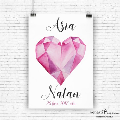 Plakat ślubny Diamentowe serce