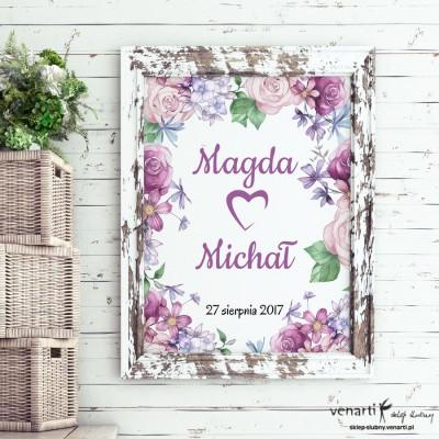 Plakat ślubny Kwiaty rustikal