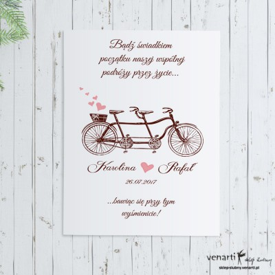 Plakat ślubny Stary rower