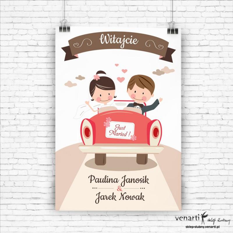 Plakat ślubny Rysunkowa para