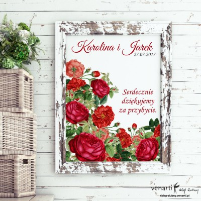 Plakat ślubny Róże