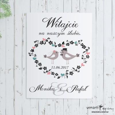 Plakat ślubny Ptaszki w sercu