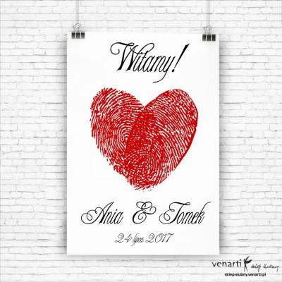 Plakat ślubny Serce z odcisków