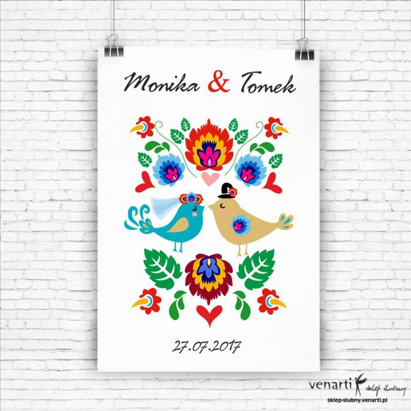 Plakat ślubny Ptaszki folk
