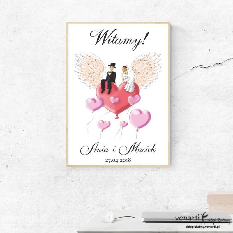 Plakat ślubny Para na sercu