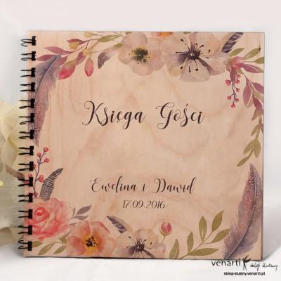 Ślubny album, księga gości Kwiaty boho