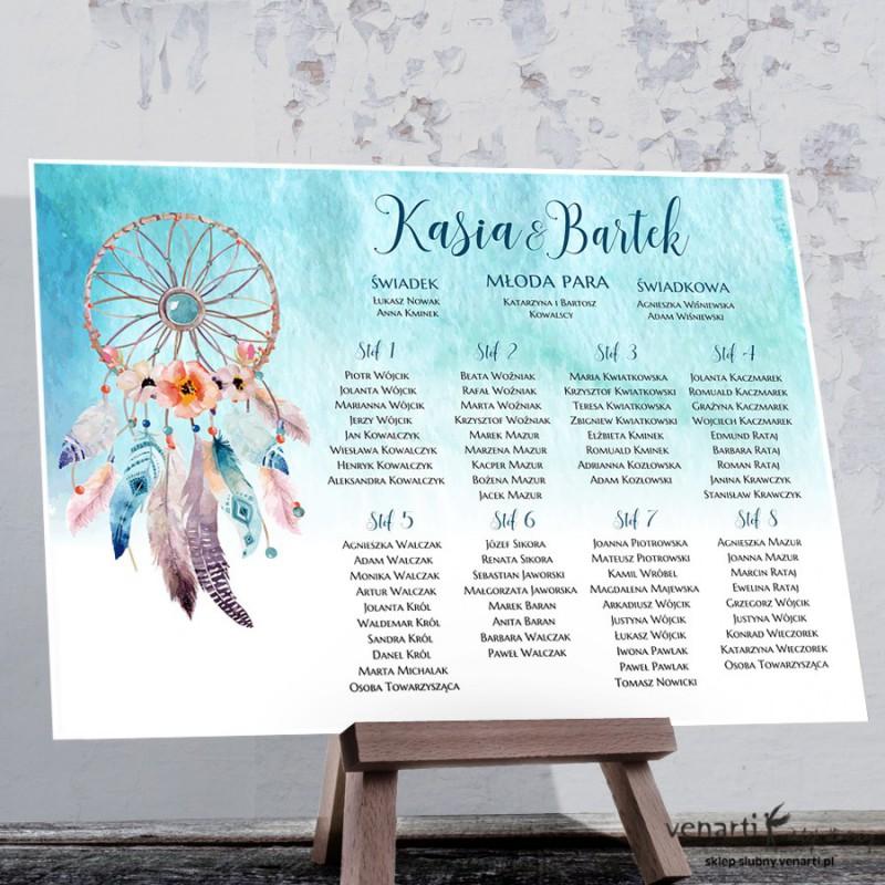 Plan stołu plakat Boho pióra
