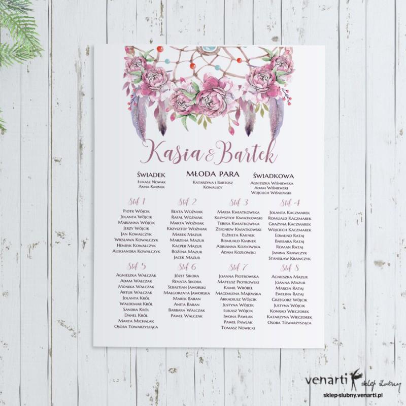 Plan stołu plakat Boho kwiaty