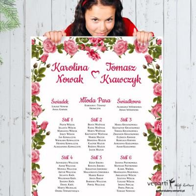 Plan stołu plakat Róże