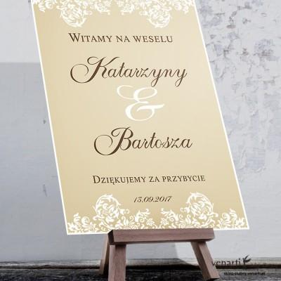 Plakat ślubny Ciemna koronka