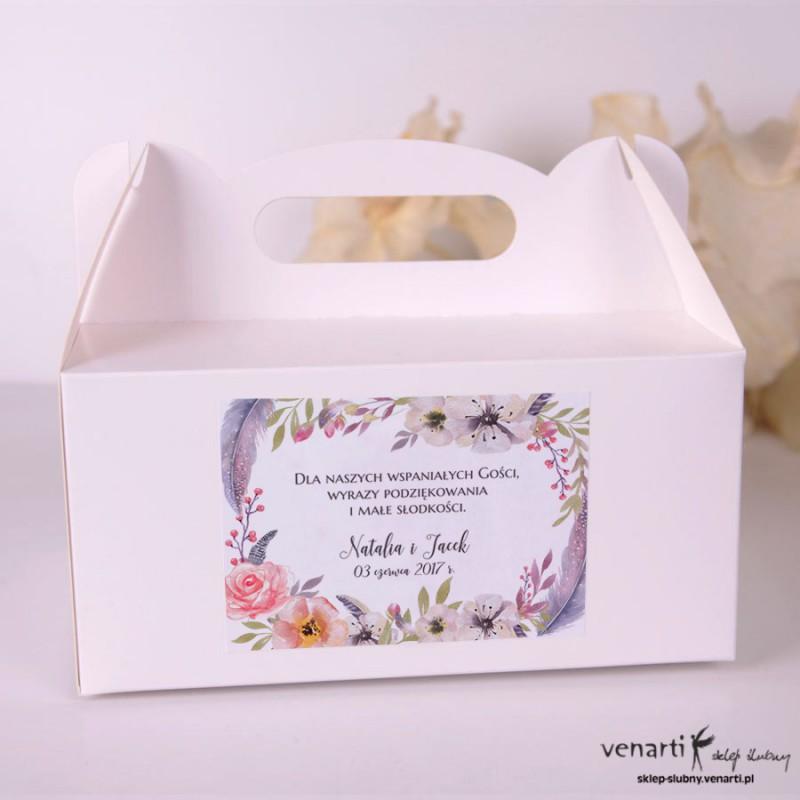 Boho kwiaty Pudełka na ciasto weselne
