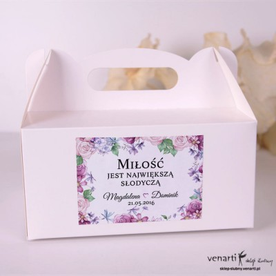 Kwiaty rustikal Pudełka na ciasto weselne