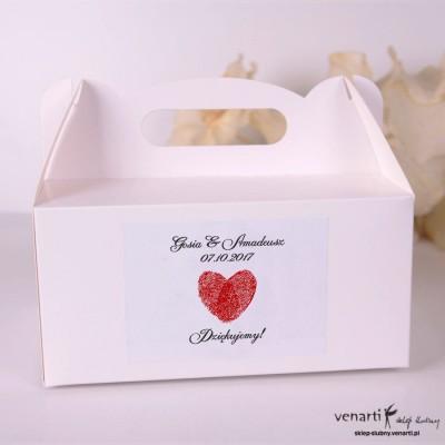 Serce z odcisków Pudełka na ciasto weselne