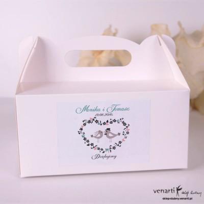 Ptaszki w sercu Pudełka na ciasto weselne