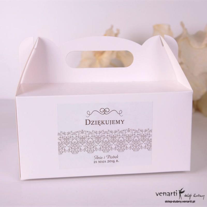 Koronka Pudełka na ciasto weselne