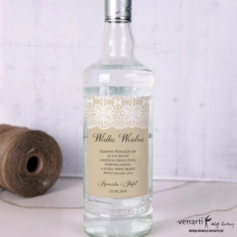 Koronka kwiaty Etykiety na alkohol