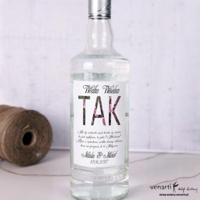 Kwiatowy napis Etykiety na alkohol