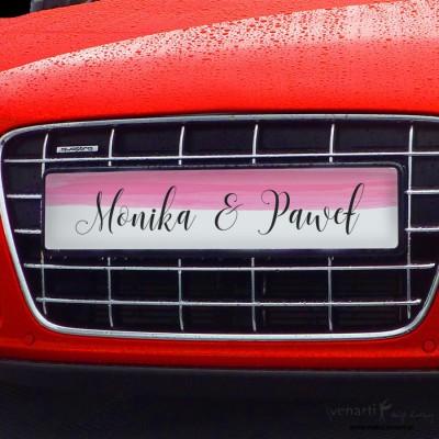 Różowa akwarela tablice rejestracyjne