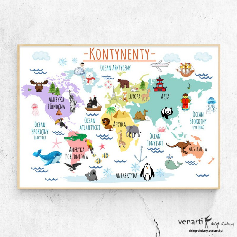 Kontynenty plakat dla dzieci (1593) - Sklep ślubny Venarti