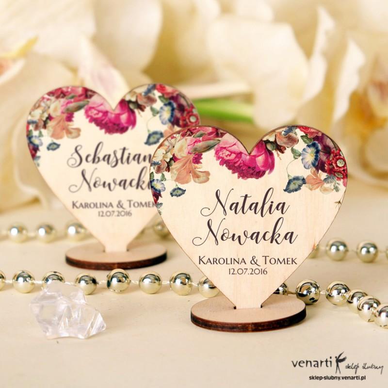 Rustykalne kwiaty Serce Winietki drewniane ślubne