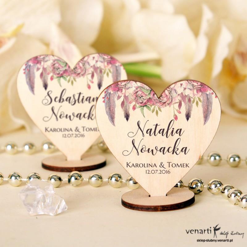 Boho różowe Winietki drewniane ślubne