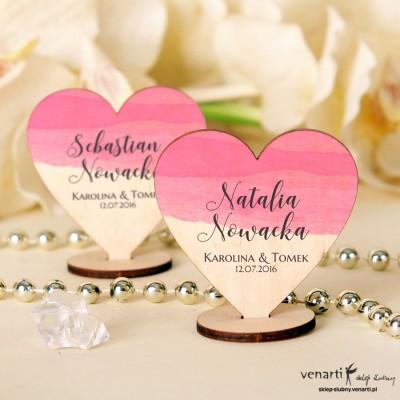 Różowa akwarela Serce Winietki drewniane ślubne