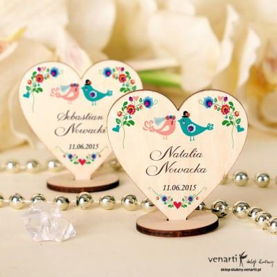 Serce Ptaszki folk Winietki drewniane ślubne