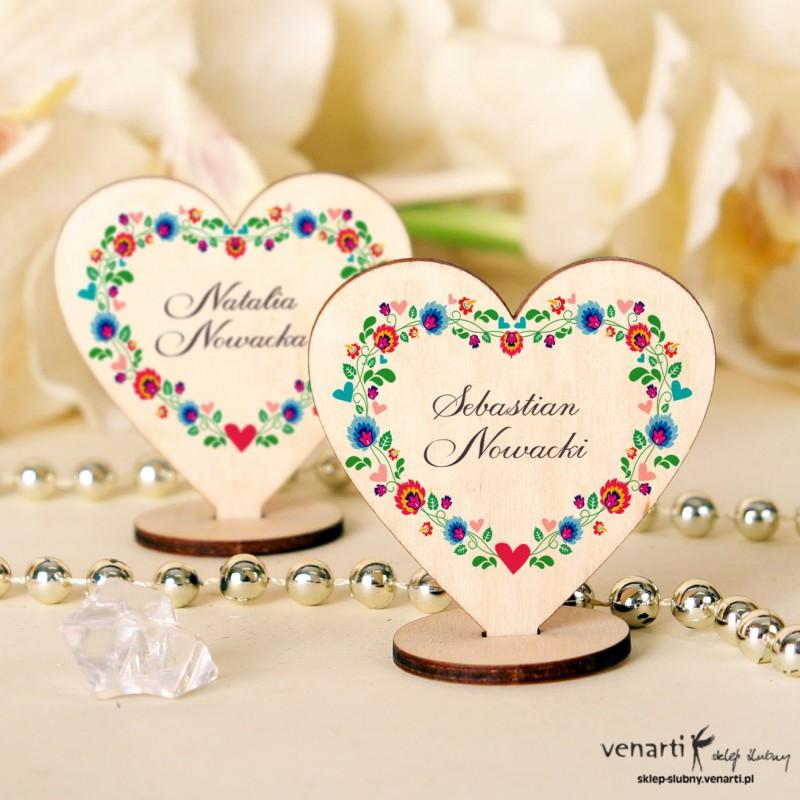 Serce folk Winietki drewniane ślubne