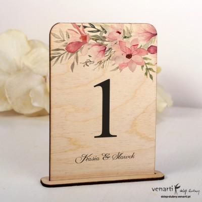 Magnolia Ślubne drewniane numerki na stół