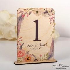Boho kwiaty Ślubne drewniane numerki na stół