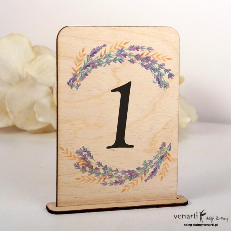 Lawenda Ślubne drewniane numerki na stół