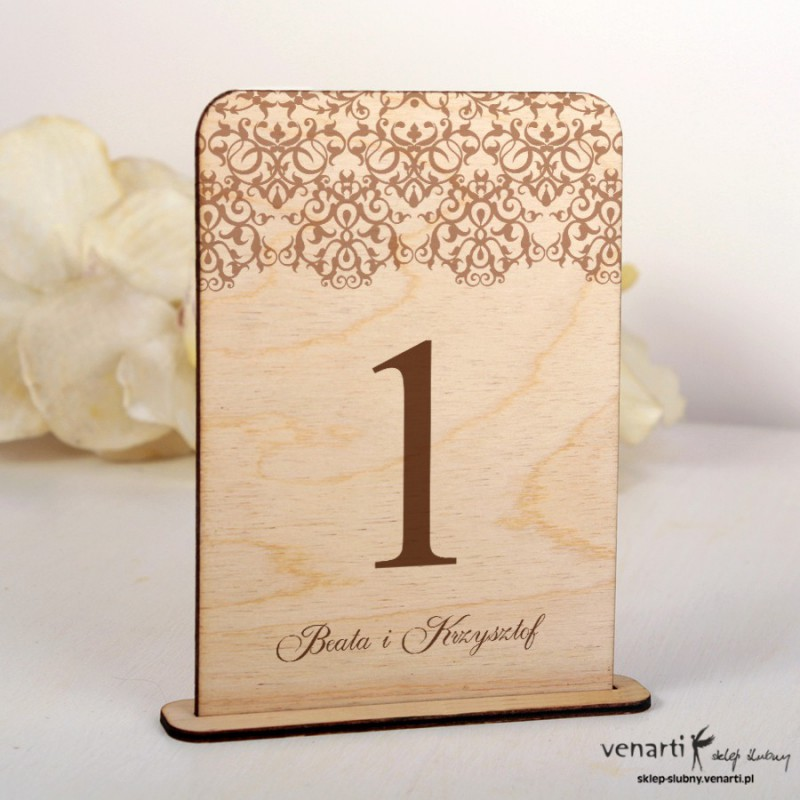 Koronka Ślubne drewniane numerki na stół