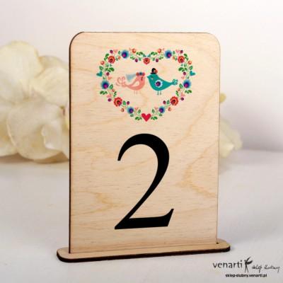 Ptaszki folk Ślubne drewniane numerki na stół